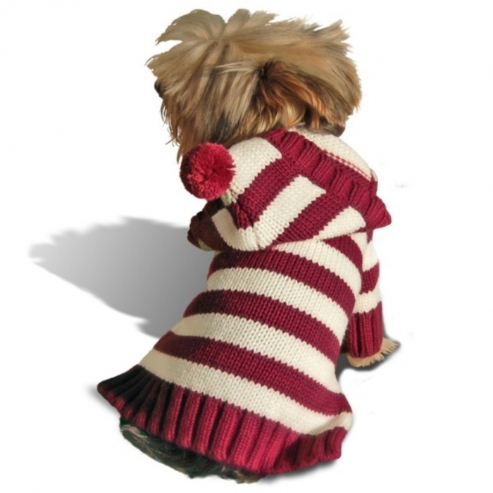 бордовый полосой собака-балахон свитер-