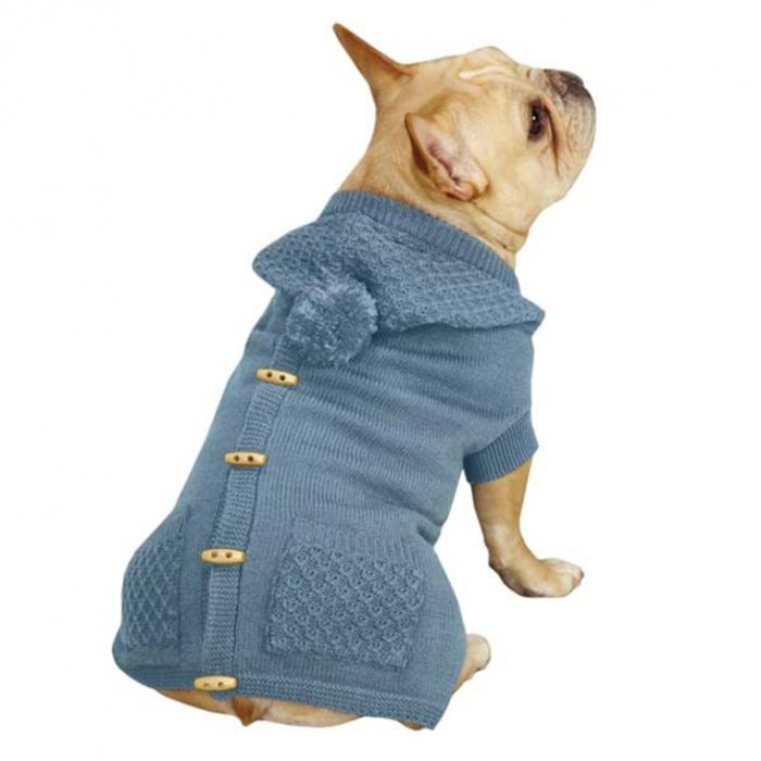 Коттедж-капюшоном-собака-свитер жилет-сине-рай-1