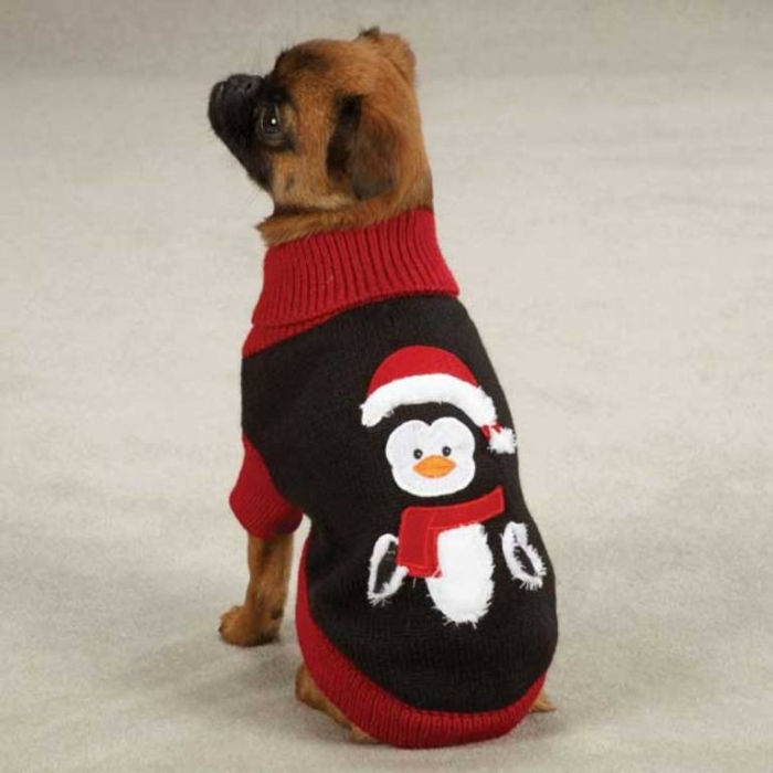 zack-zoey-holiday-penguin-dog-sweater-1 Top 25 Breathtaking Dog Sweaters for Your Dog