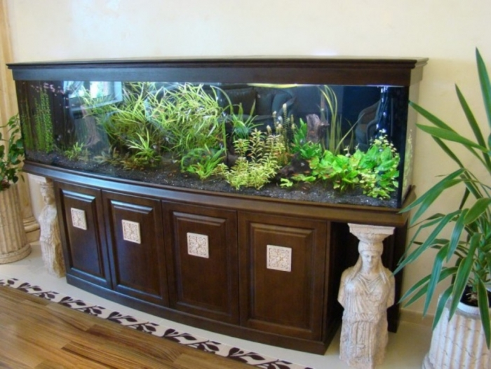 elegant-wood-furniture-fish-tank-with-plant-decoration-ideas-720x542 How to Decorate Your Boring Fish Tank