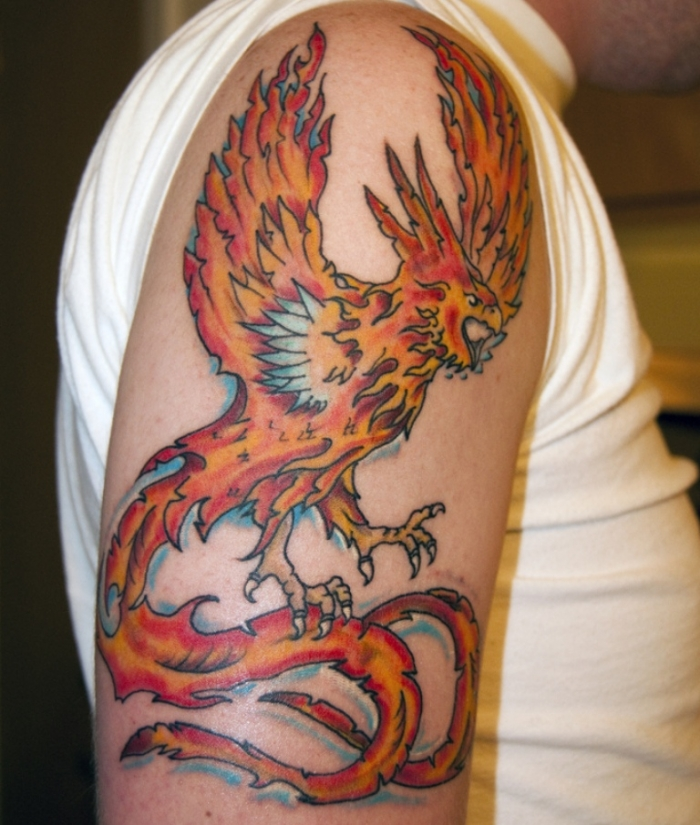 flying-phoenix-tattoo-on-upper-arm New Facts You Don't Know about the Legend of the Phoenix