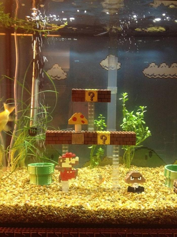 super-mario-lego-fishtank3 How to Decorate Your Boring Fish Tank