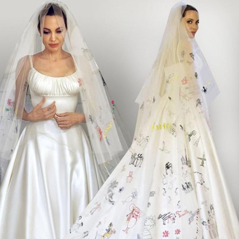 Angelina-Jolie-Atelier-Versace-wedding-dress Top 10 Celebrity Weddings of 2014