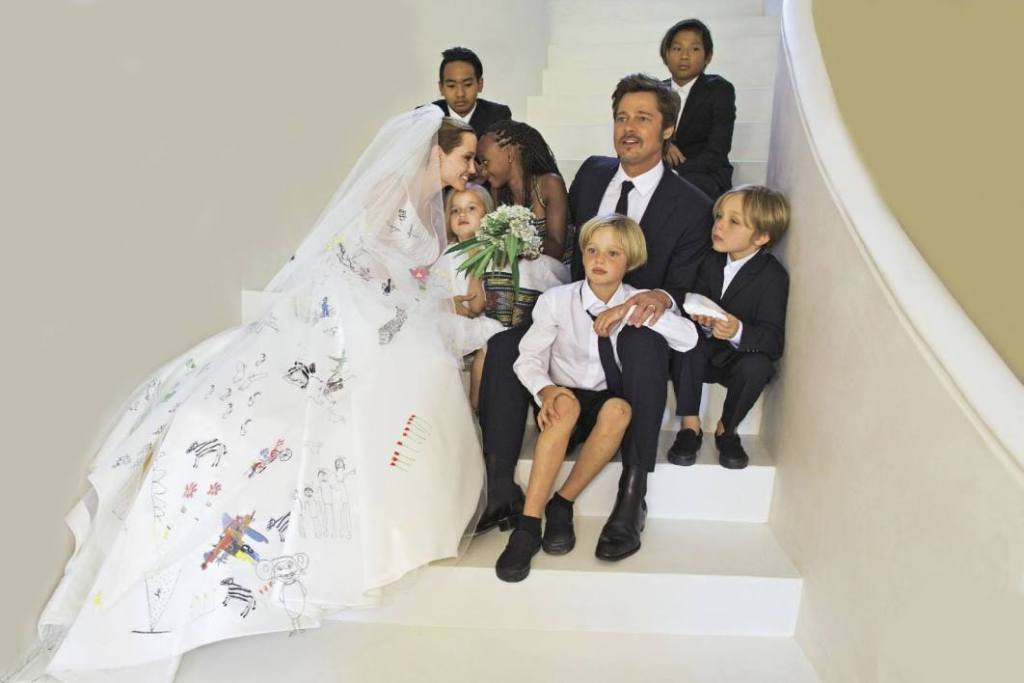 Angelina-Jolie-white-wedding-dress-2014 Top 10 Celebrity Weddings of 2014