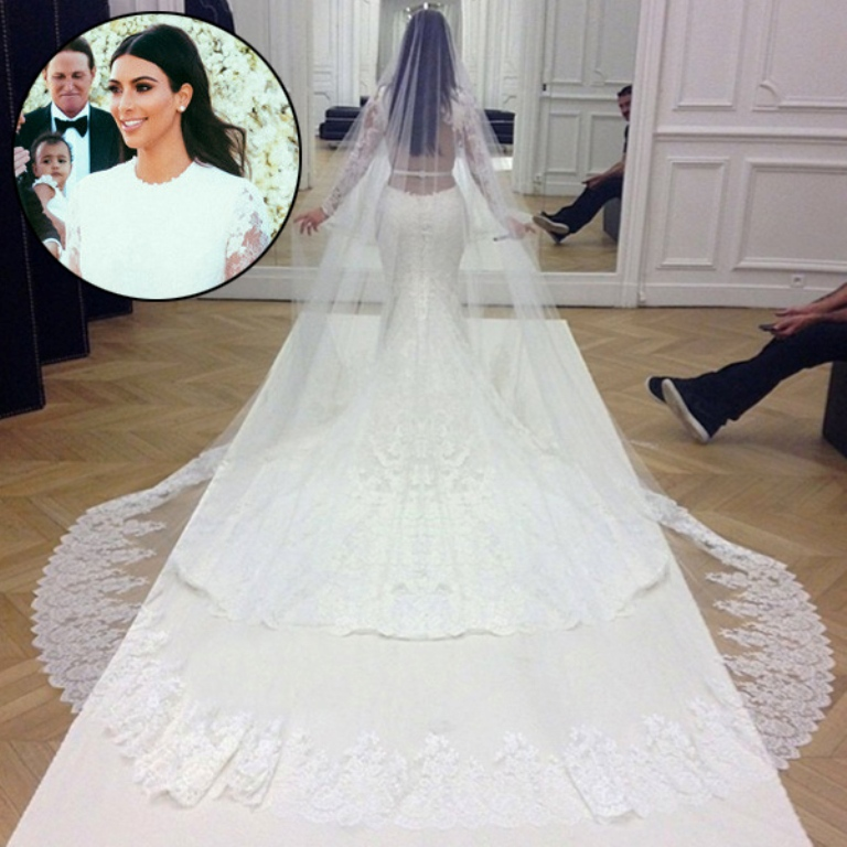 kim-kardashian-kanye-west-wedding-dress Top 10 Celebrity Weddings of 2014
