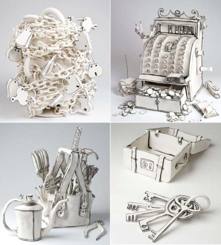 3D-Ceramic-Artworks-that-Look-Like-Pen-Drawings-10 46 3D Ceramic Artworks that Look Like Pen Drawings!