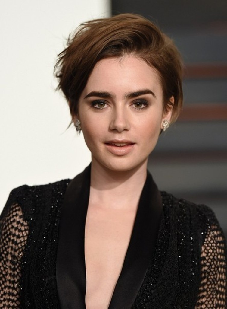 Lily-Collins-with-her-new-pixie-haircut 15 Worst Celebrity Hairstyles ... [You Will Be Shocked]