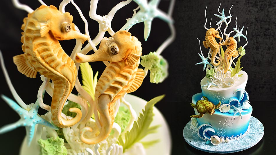 underwater-scene-cake-with-seahorse-couple-thumbnail-M Top 10 Most Unique and Funny Wedding Cake Toppers 2019