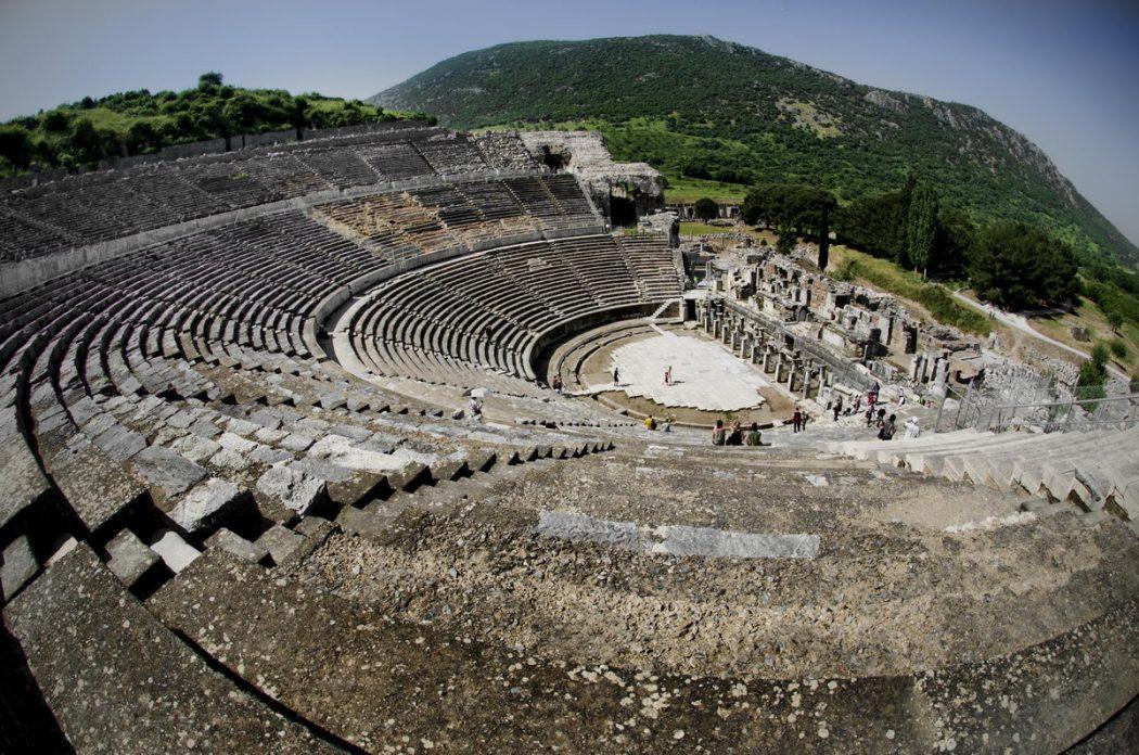 Ephesus-Efes-Ruins-Great-Theatre-Fishye-Selcuk-Turkey-2013-05-02-10-36-41 Top 10 Most Ancient Ruins in Turkey
