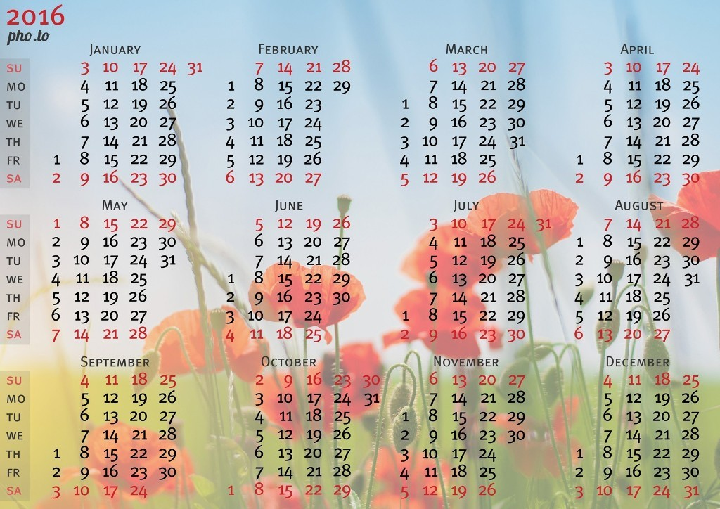 calendar-2016-10 64 Breathtaking 2018 Printable Calendar Templates