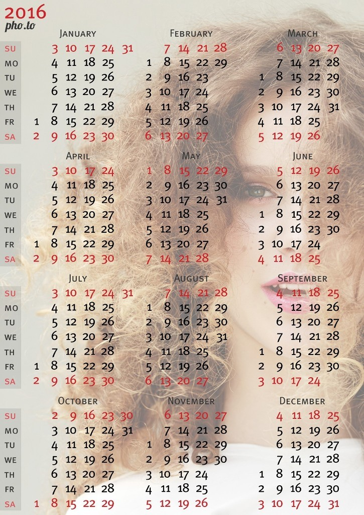 calendar-2016-13 64 Breathtaking 2016 Printable Calendar Templates