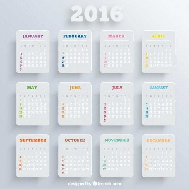 calendar-2016-16 64 Breathtaking 2018 Printable Calendar Templates