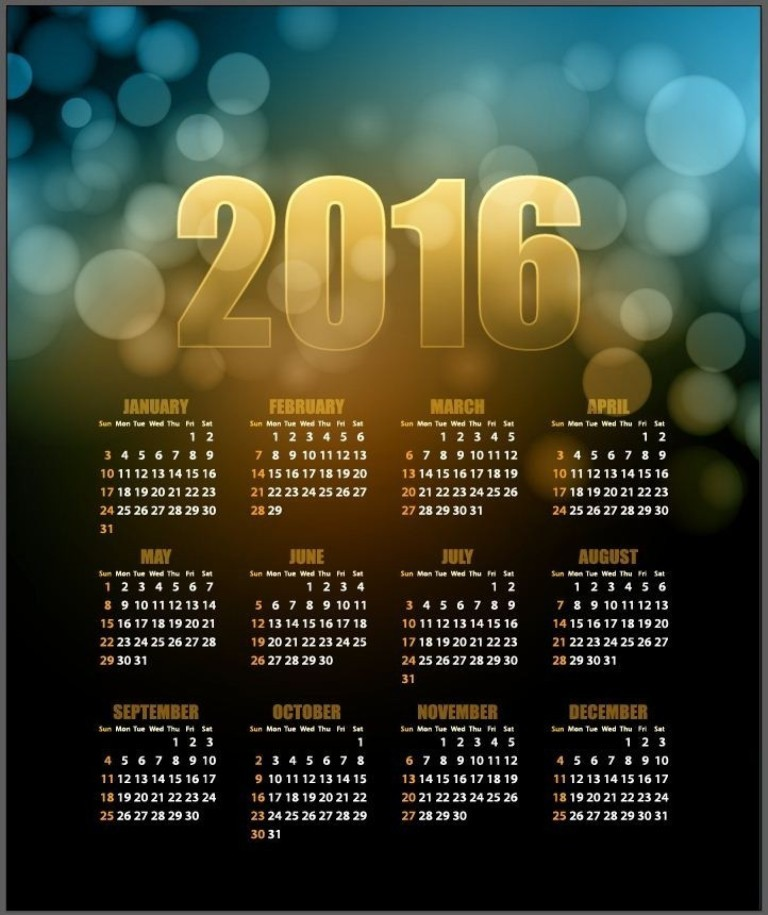 calendar-2016-23 64 Breathtaking 2018 Printable Calendar Templates