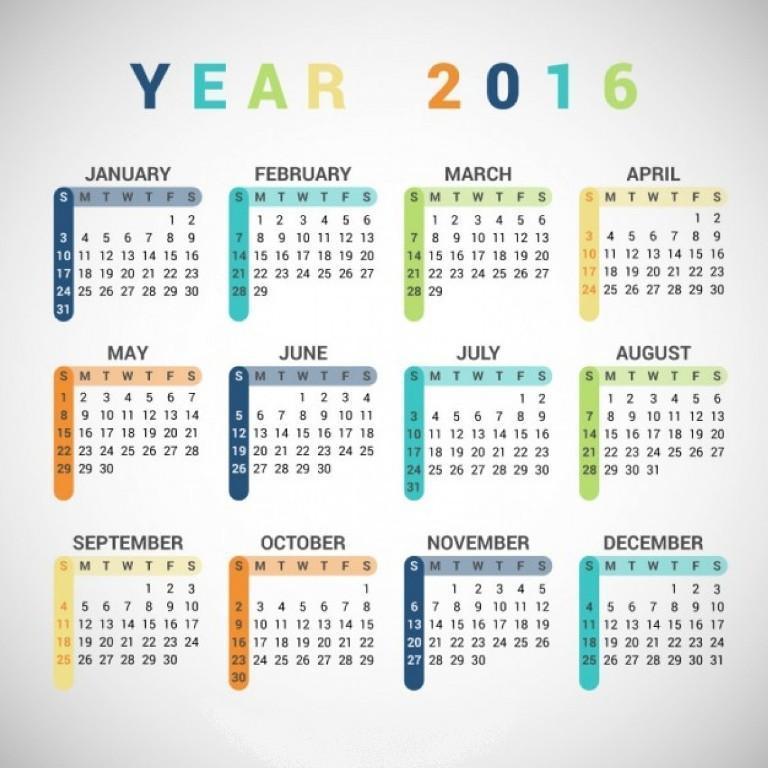 calendar-2016-24 64 Breathtaking 2018 Printable Calendar Templates