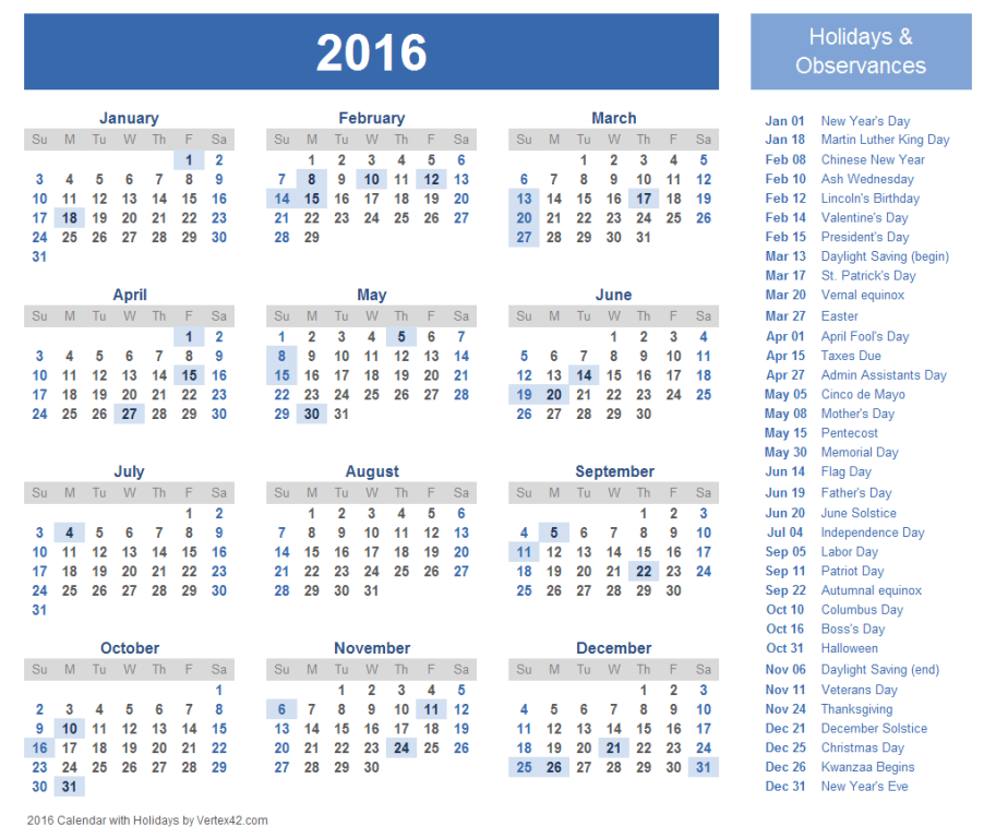 calendar-2016-25 64 Breathtaking 2016 Printable Calendar Templates
