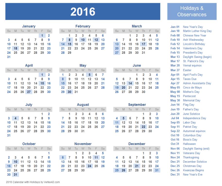 calendar-2016-25 64 Breathtaking 2018 Printable Calendar Templates