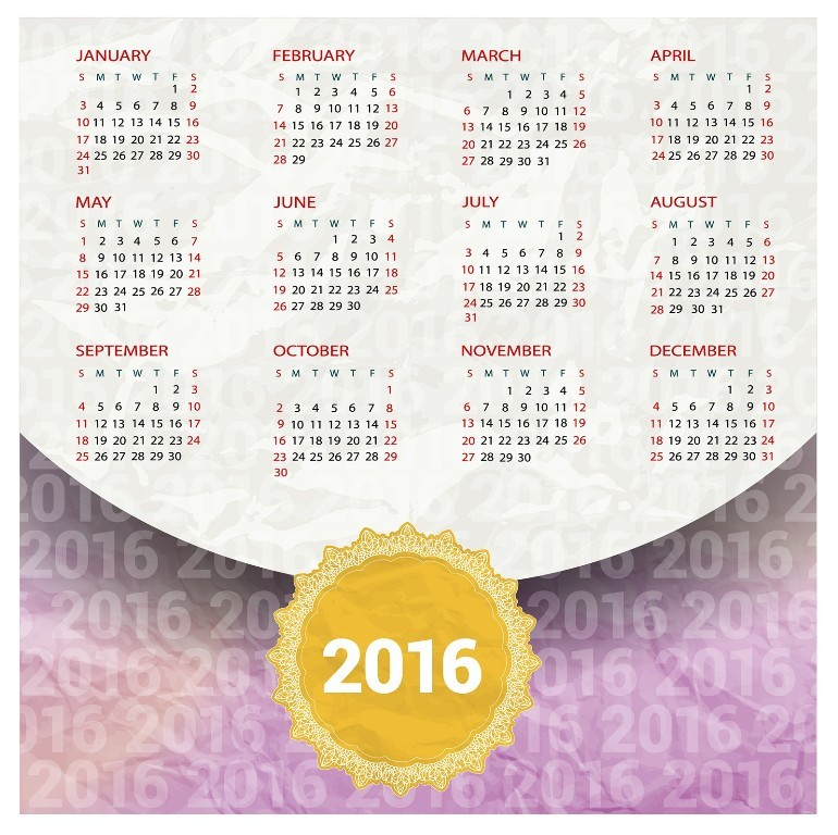 calendar-2016-26 64 Breathtaking 2016 Printable Calendar Templates