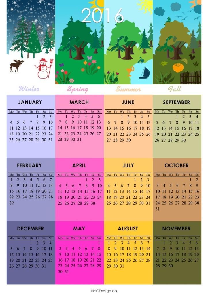 calendar-2016-27 64 Breathtaking 2018 Printable Calendar Templates
