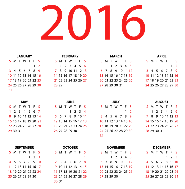calendar-2016-29 64 Breathtaking 2016 Printable Calendar Templates