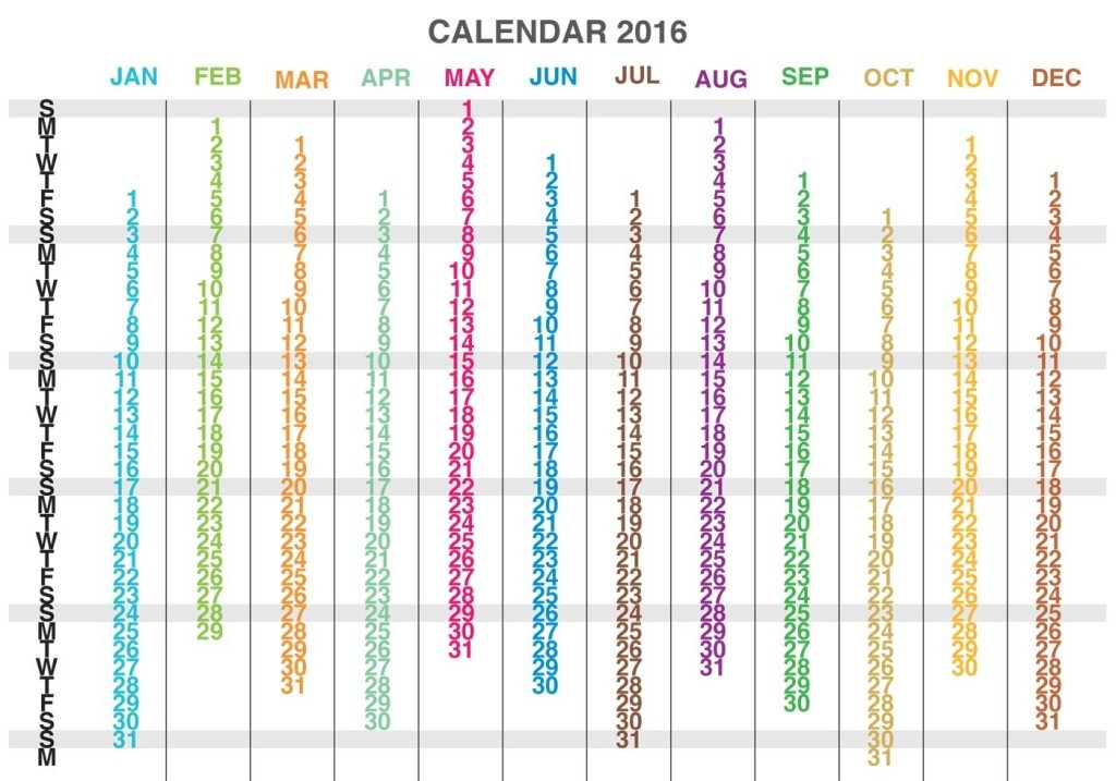 calendar-2016-40 64 Breathtaking 2016 Printable Calendar Templates