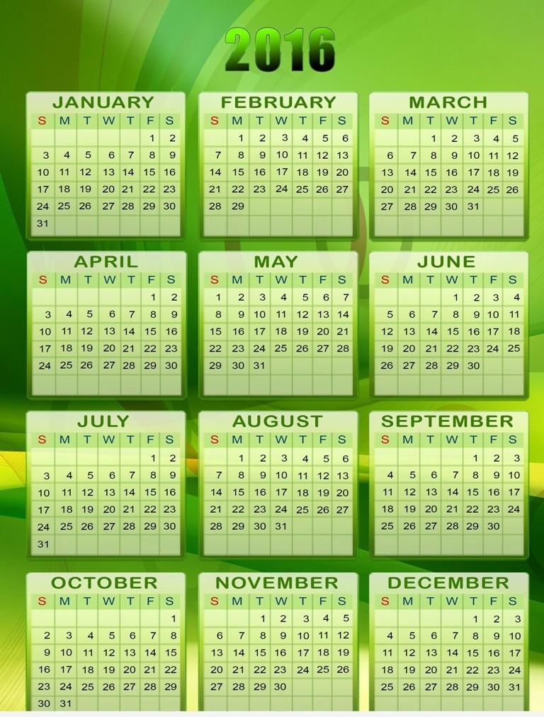 calendar-2016-46 64 Breathtaking 2018 Printable Calendar Templates