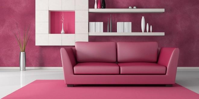 pink and black modern lounge - rendering