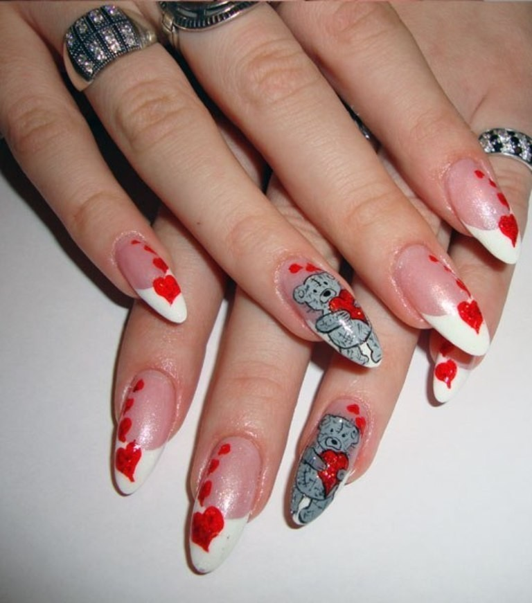 valentines-day-nails-14 89 Most Fabulous Valentine's Day Nail Art Designs