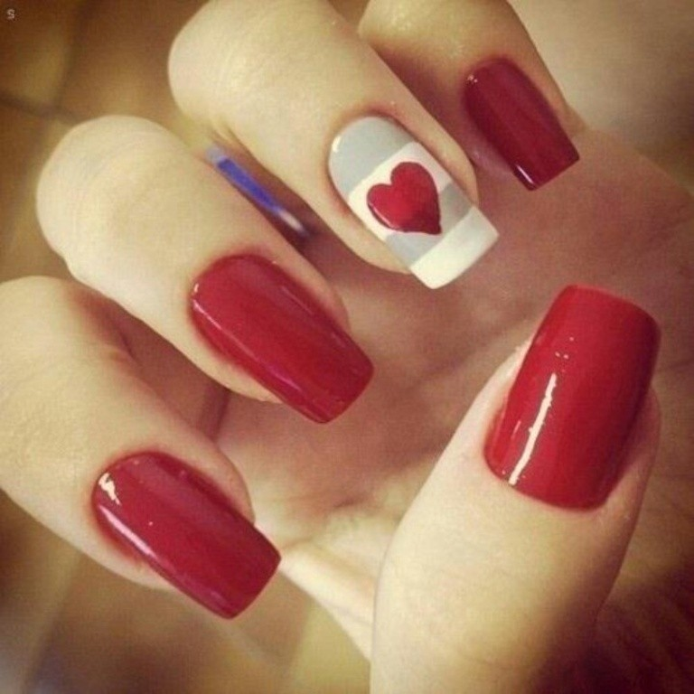 valentines-day-nails-22 89 Most Fabulous Valentine's Day Nail Art Designs