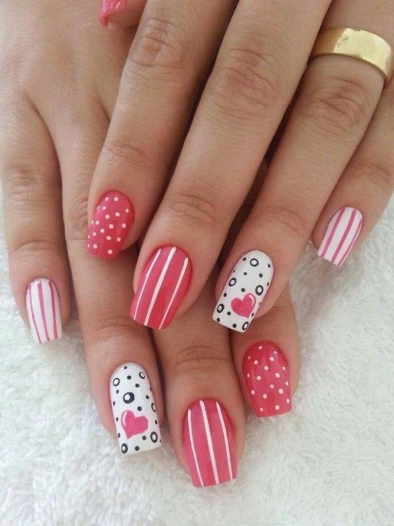 valentines-day-nails-26 89 Most Fabulous Valentine's Day Nail Art Designs