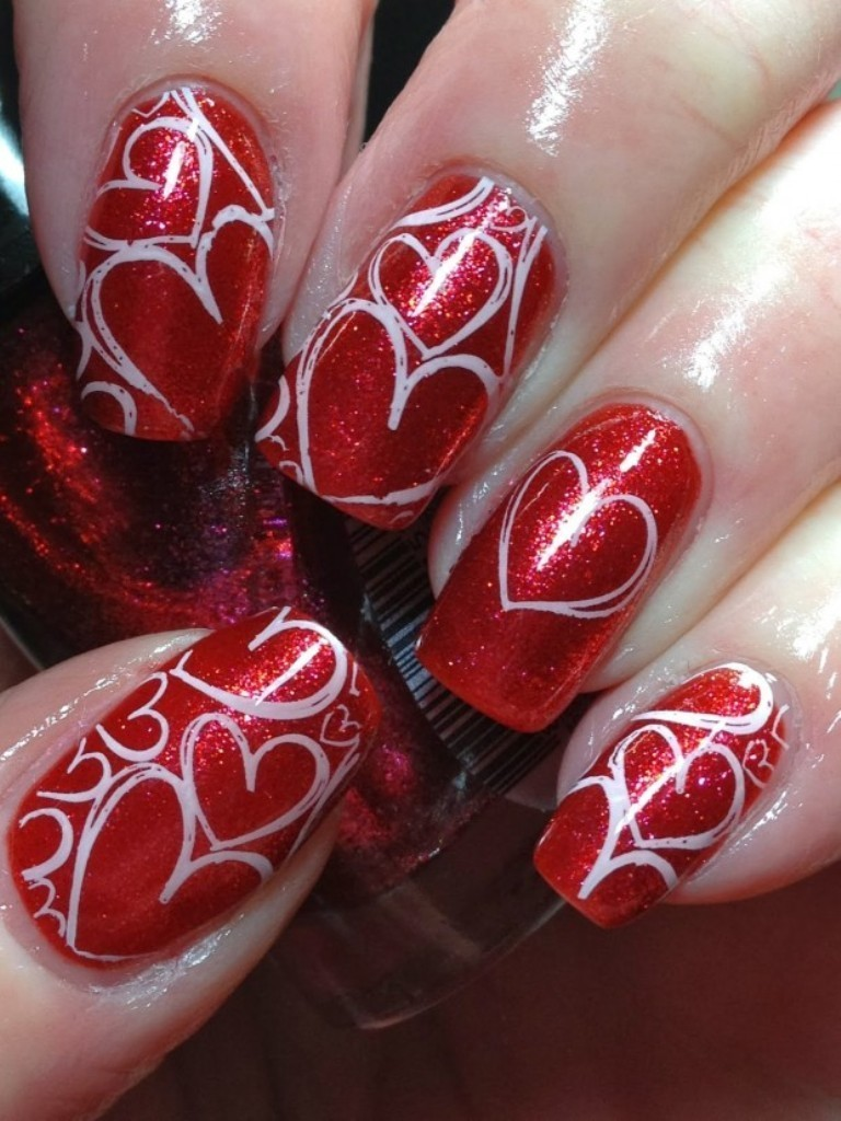 valentines-day-nails-3 89 Most Fabulous Valentine's Day Nail Art Designs
