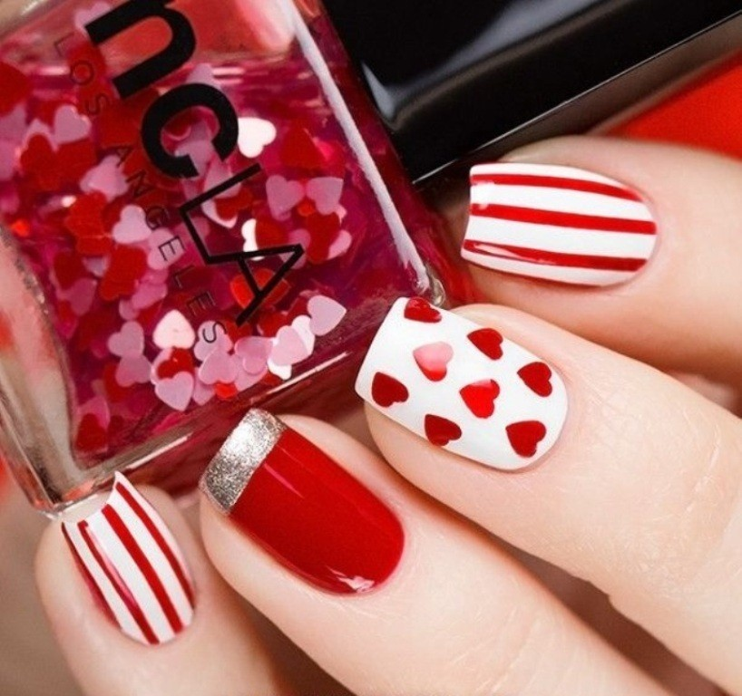 valentines-day-nails-32 89 Most Fabulous Valentine's Day Nail Art Designs