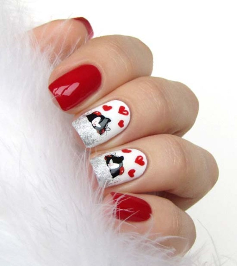 valentines-day-nails-61 89 Most Fabulous Valentine's Day Nail Art Designs