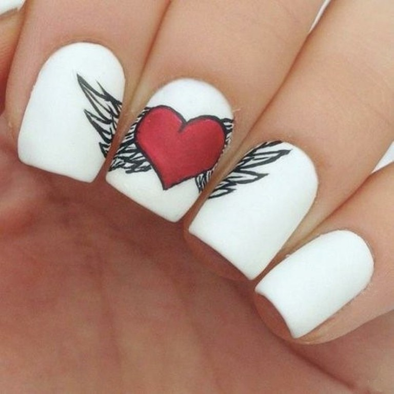 valentines-day-nails-80 89 Most Fabulous Valentine's Day Nail Art Designs