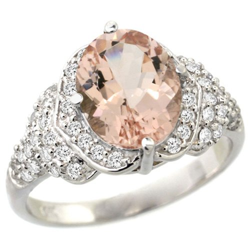 14k-White-Gold-Morganite-Halo-Engagement-Ring 37+ Amazing Engagement Rings With Colored Gemstones
