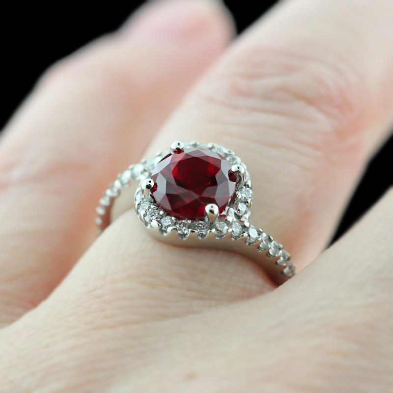 Cresendo-Accented-Engagement-Ring_Round-cut-Ruby-Gemstone 37+ Amazing Engagement Rings With Colored Gemstones
