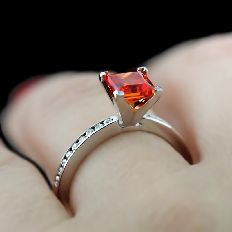 Drew-Accented-Engagement-Ring_Princess-cut-Padparadscha-Gemstone 37+ Amazing Engagement Rings With Colored Gemstones