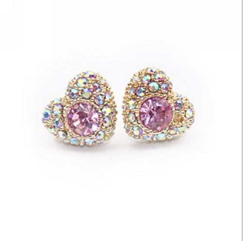 High-Quality-2014-New-Trendy-Cute-Gold-Plated-Heart-Shaped-Rhinestone-Stud-Earrings-for-Women-Ladies 35+ Most Fashionable Women and Girls Earrings Designs 2018