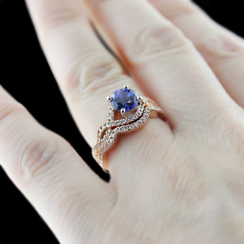 Infininty-Wedding-Set-in-Rose-Gold-with-Blue-Sapphire-by-MiaDonna 37+ Amazing Engagement Rings With Colored Gemstones