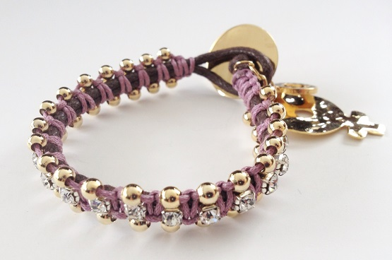 Jute-Handmade-bracelet-with-Pink-Threads-and-Gold-Plated-Pendant21 2017 Trendy Designs Of Bracelets For Women And Girls