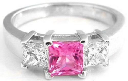 Pink-diamond-engagement-rings-princess-cut 37+ Amazing Engagement Rings With Colored Gemstones
