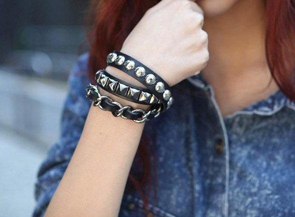 fashion-girls-black-rivet-leather-bracelets 27+ Trendy Designs Of Bracelets For Women And Girls 2020