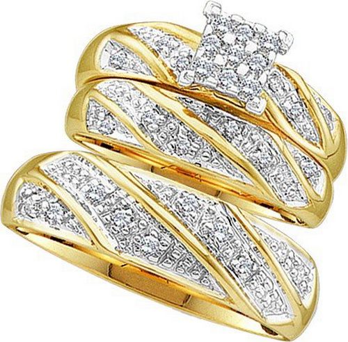 gold-wedding-rings-trio-sets Top 22+ Unique And Elegant Designs Of Wedding Rings