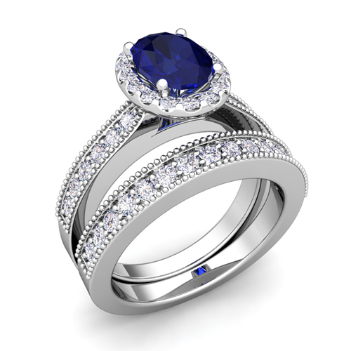 halo-bridal-set-milgrain-diamond-and-sapphire-engagement-wedding-ring-set-in-platinum-8x6mm-2 37+ Amazing Engagement Rings With Colored Gemstones