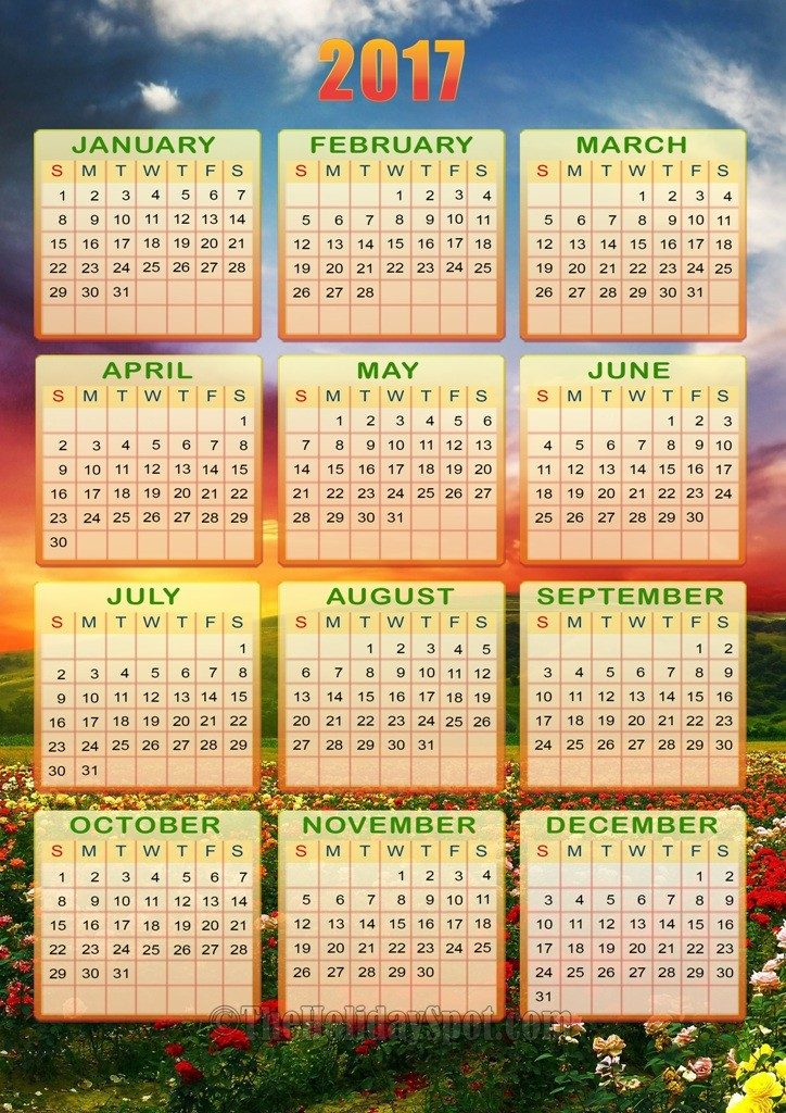 2017-calendar-14 58 Stunning Printable Calendar Templates