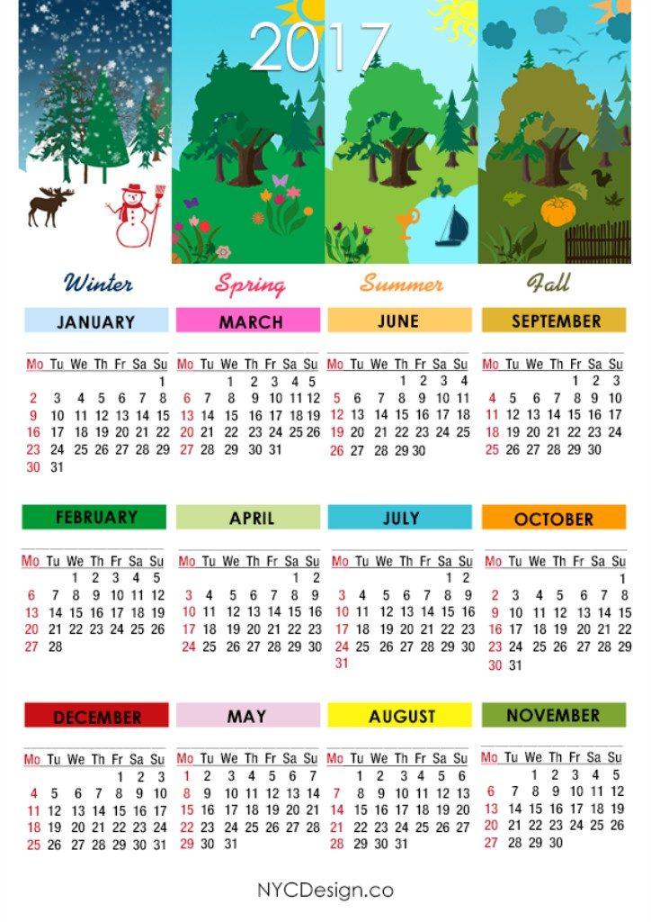 2017-calendar-16 58 Stunning Printable Calendar Templates