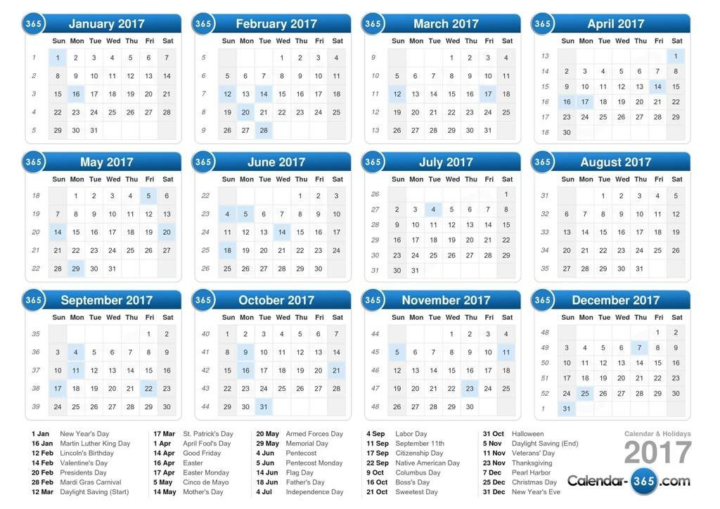 2017-calendar-24 58 Stunning Printable Calendar Templates