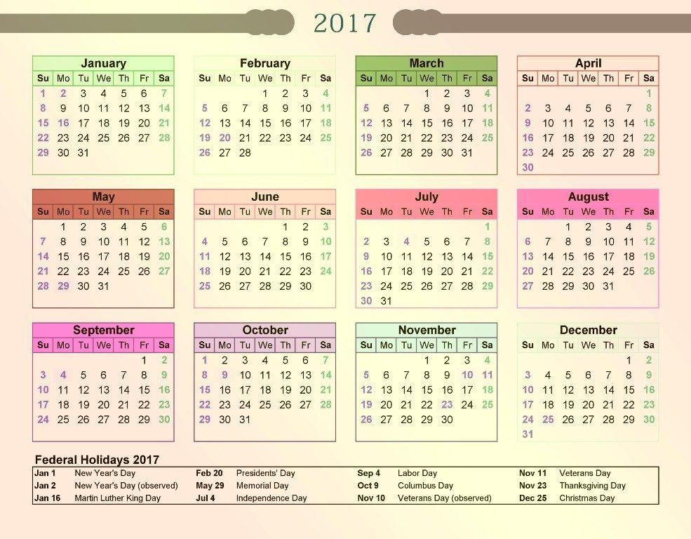 2017-calendar-25 58 Stunning Printable Calendar Templates