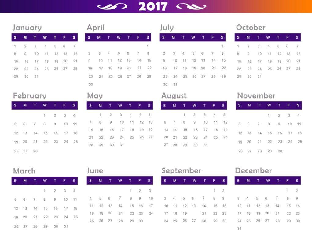 2017-calendar-31 58 Stunning Printable Calendar Templates
