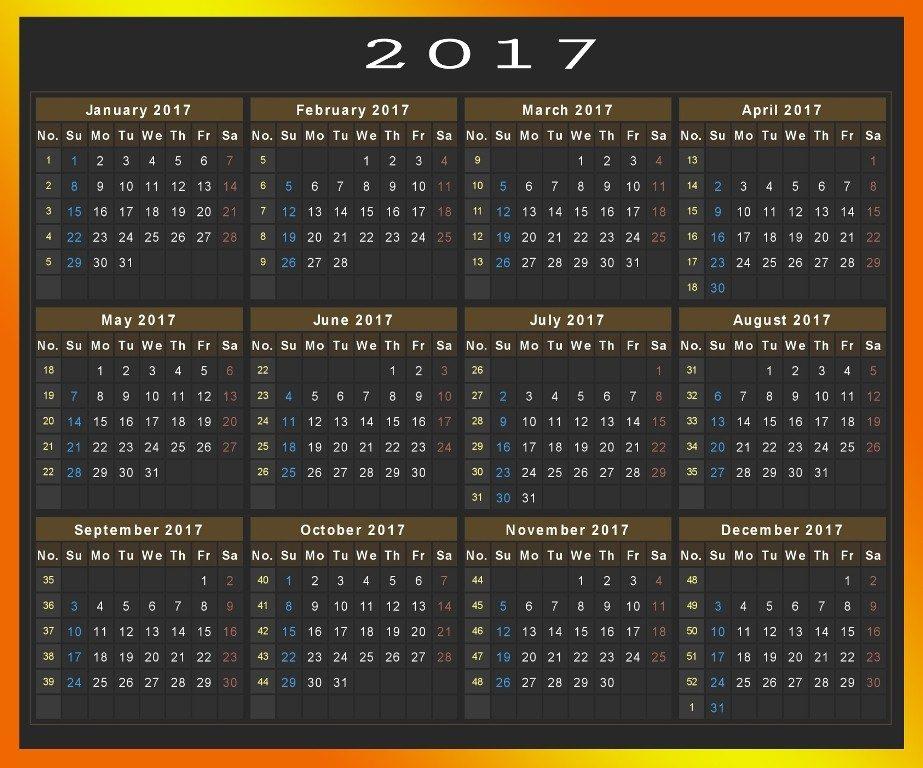 2017-calendar-33 58 Stunning 2017 Printable Calendar Templates