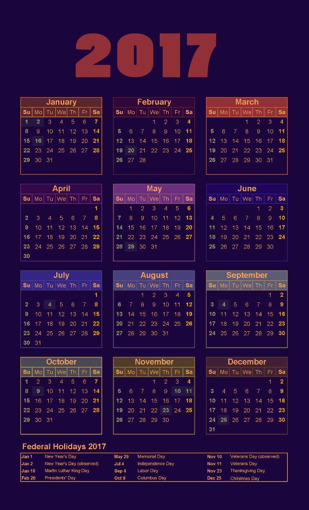 2017-calendar-4 58 Stunning 2017 Printable Calendar Templates